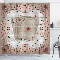 """Ambesonne Casino Shower Curtain, Lucky Gambling Cards on Grunge Wooden and Brick Look Backdrop, Cloth Fabric Bathroom Decor Set with Hooks, 70"""" Long, Vermilion Charcoal"""