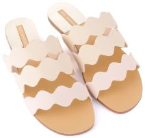Mio Marino womens slide sandals, Frill Scalloped slide for women Enclosed In A Gift Box