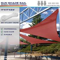 Windscreen4less 17' x 17' x 24' Sun Shade Sail Triangle Canopy in Bright red Included Free 3 Pad Eyes with Commercial Grade (3 Year Warranty) Customized Size