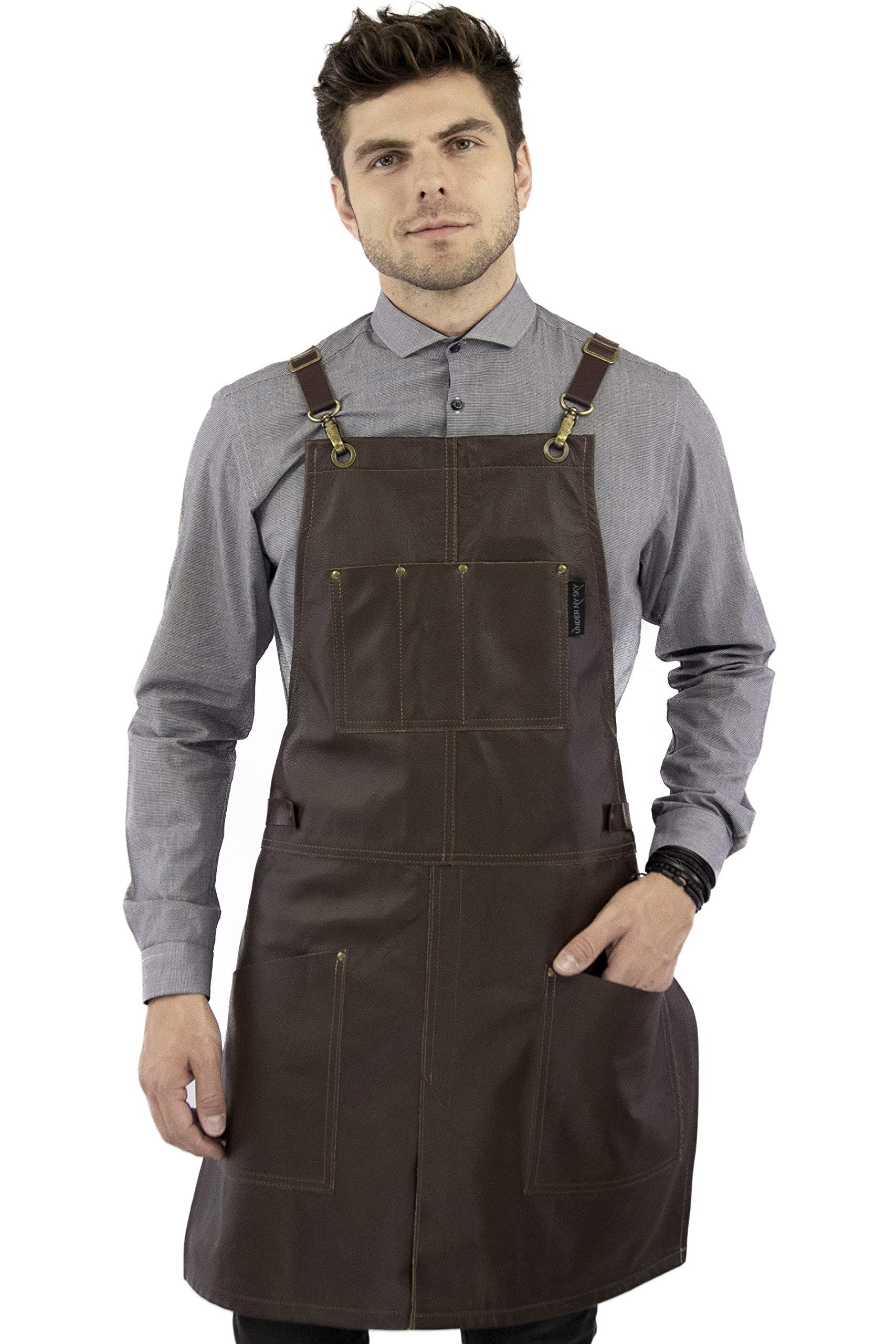 Under NY Sky Real Leather Apron - Brown Leather Body, Pockets and Crossback Straps - Split-Leg, Lined - Adjustable for Men and Women - Pro Chef, Barista, Barber, Woodworker, Shop, Bartender, Maker
