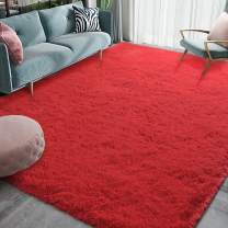 Homore Luxury Fluffy Area Rug Modern Shag Rugs for Bedroom Living Room, Super Soft and Comfy Carpet, Cute Carpets for Kids Nursery Girls Home, 3x5 Feet Red