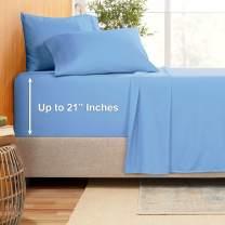"""Extra Deep Pocket Sheets - Bamboo Blend 4-Piece 21"""" Bed Sheet Set – Bamboo and Microfiber Blend – Extra Deep Bed Sheet – Ultra Deep Sheets for Deep Pockets Mattress - Twin XL - Calm Blue"""
