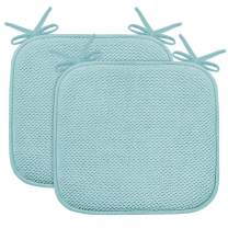 "Turquoize Non Slip Memory Foam Seat Chair Cushion Pads Honeycomb Premium Comfort Memory Foam Chair Pads/Cushions with Ties - Seat Cover 16"" x 16"" Chair/Seat Cushion Pad, 2 Pack, Aqua Sea"