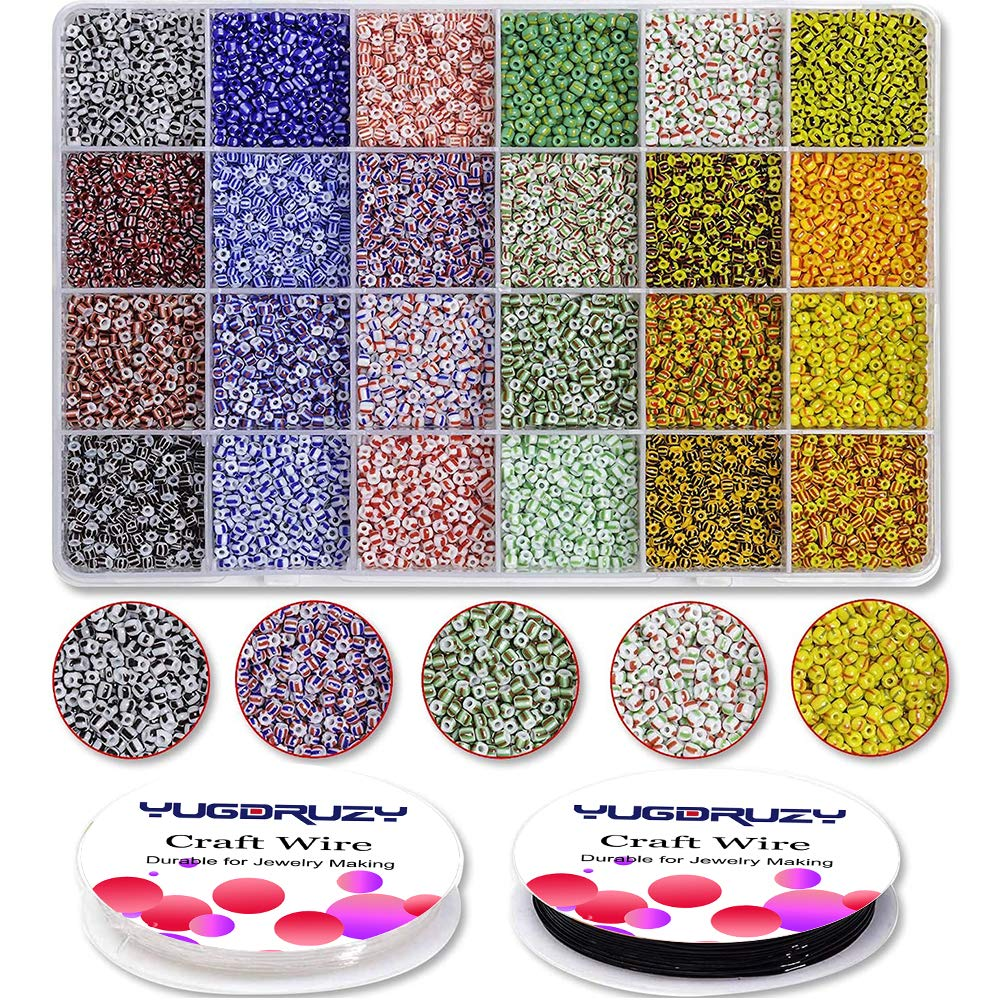 Glass Seed Beads Kit Bulk, 9600PCS 3mm 24 Colors Small Pony Colorful Rainbow Striped Beads Assorted with Elastic String for DIY Craft Bracelet Necklace Jewelry Making Supplies