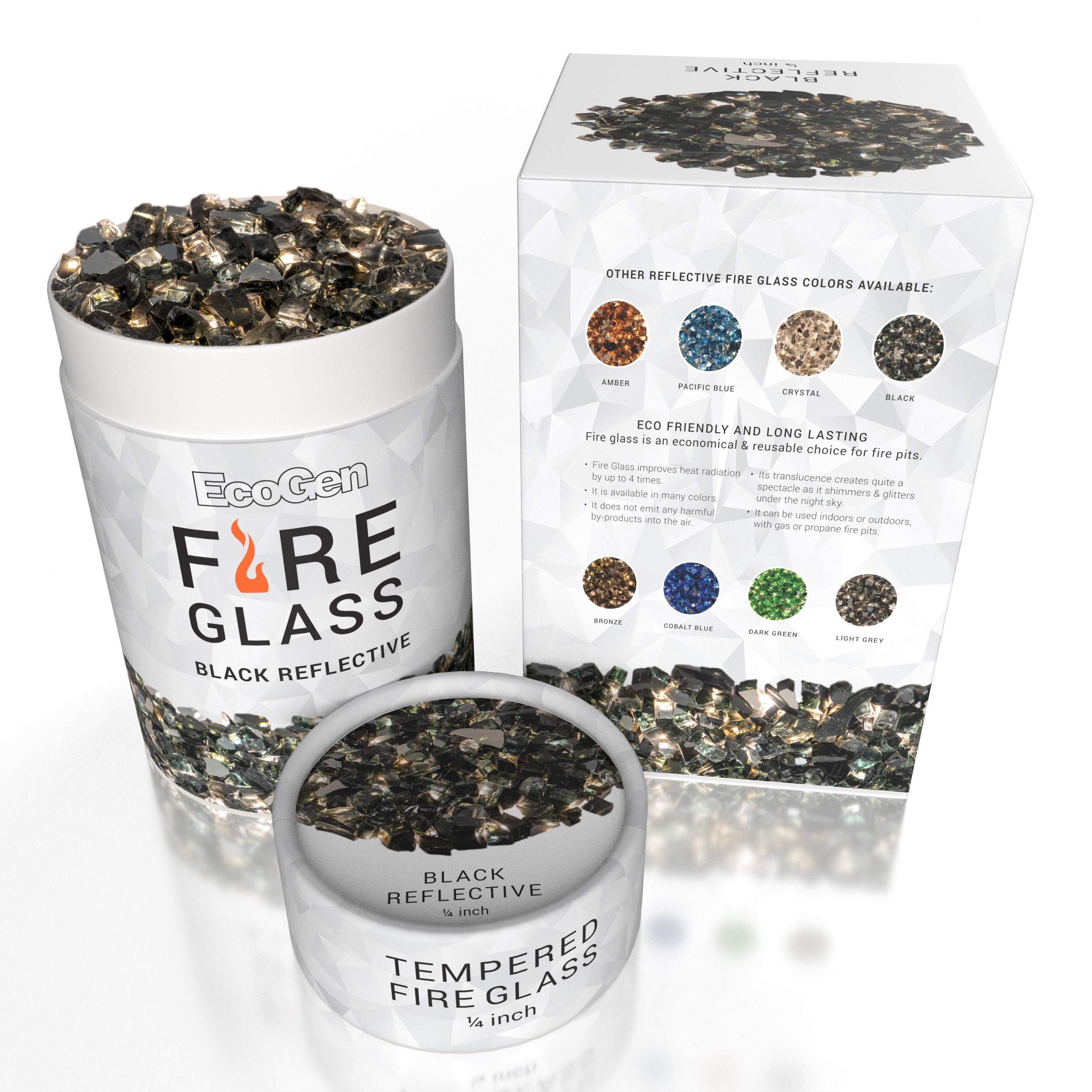 EcoGen Fire Glass Rocks for Outdoor Fire Pits and Indoor Fireplace, Color, Optimal Heat for Propane or Gas, Tempered and Reflective, Eco-Friendly Packaging, Black 1/4 inch Reflective 12 lbs.