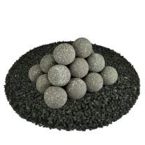 Ceramic Fire Balls | Set of 20 | Modern Accessory for Indoor and Outdoor Fire Pits or Fireplaces – Brushed Concrete Look | Charcoal Gray, Speckled, 3 Inch