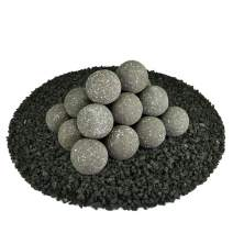 Ceramic Fire Balls   Set of 20   Modern Accessory for Indoor and Outdoor Fire Pits or Fireplaces – Brushed Concrete Look   Charcoal Gray, Speckled, 3 Inch