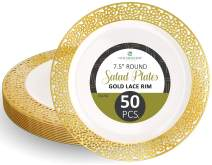"""Disposable Plastic Party Plates - 50 Pack 7.5"""" Dessert Plate - Elegant Round Cream Plate with Gold Lace Design - Ecofriendly Kitchen Dinnerware - by Elite Selection"""