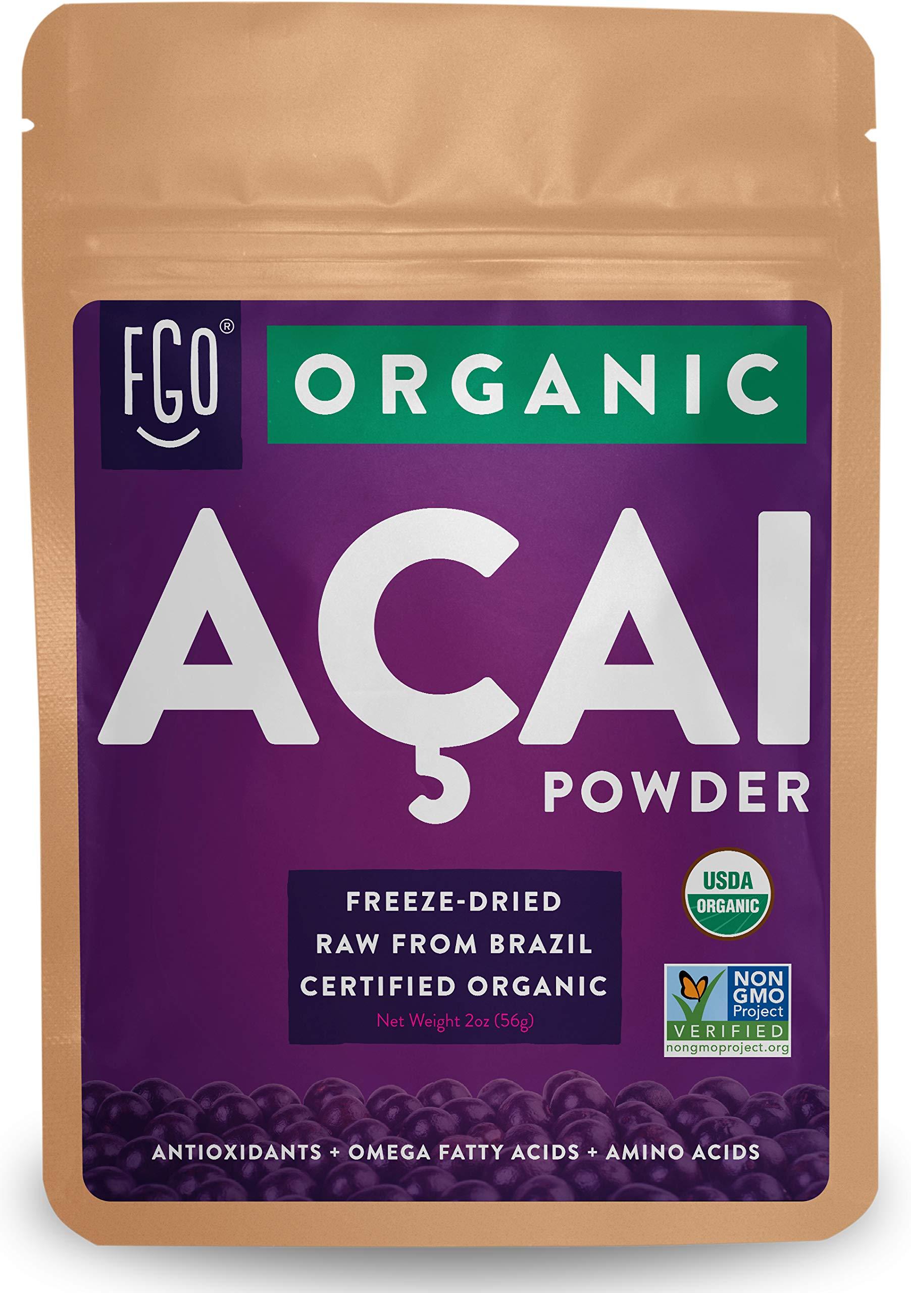 Organic ACAI Powder (Freeze-Dried)   2oz Resealable Kraft Bag   100% Raw Antioxidant Superfood Berry From Brazil   by FGO
