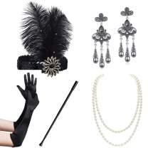 BABEYOND 1920s Flapper Accessories Set Gatsby Costume Accessories 20s Flapper Headband Pearl Necklace Gloves Cigarette Holder (Set-16) Black