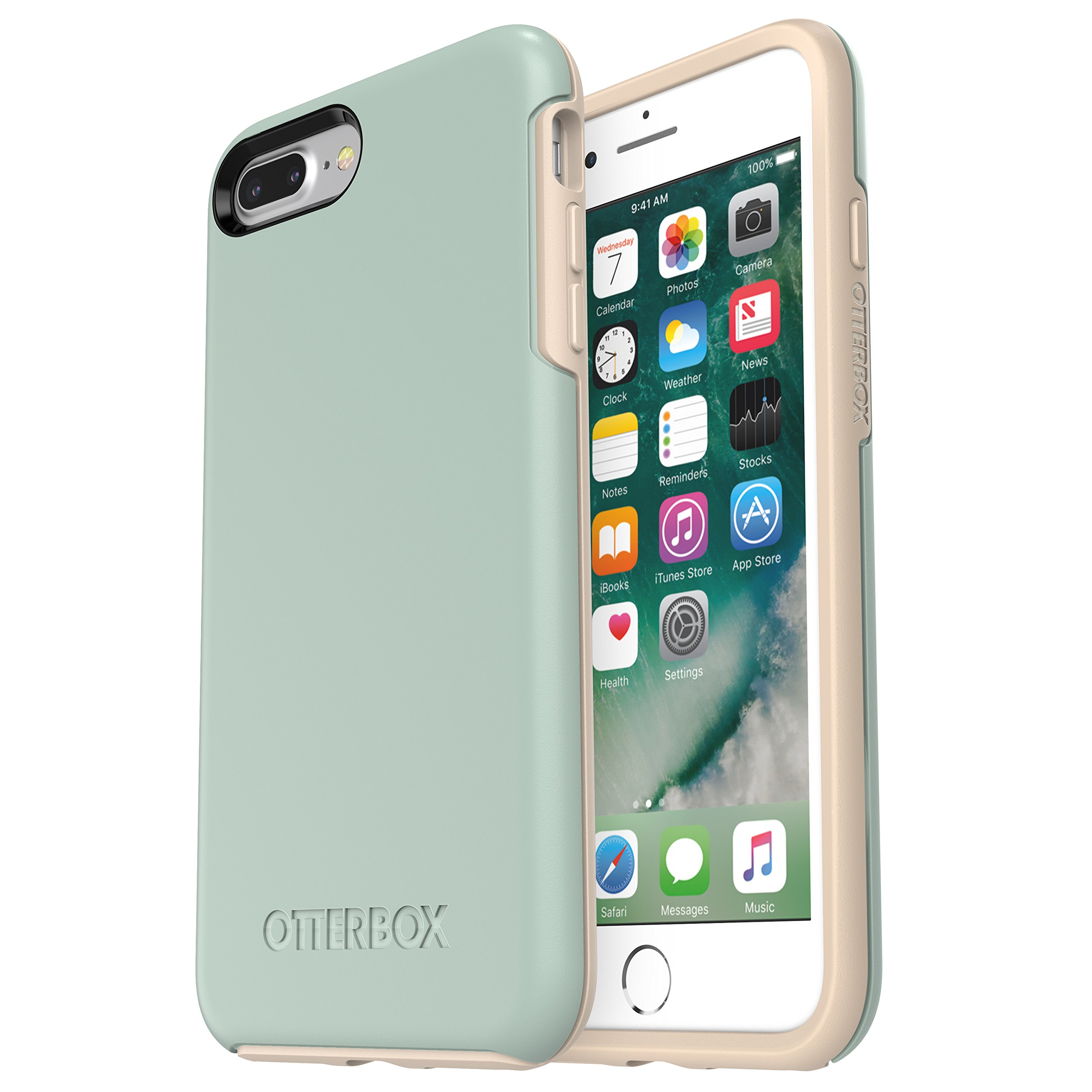 OtterBox Symmetry Series Case for iPhone 8 Plus & iPhone 7 Plus (ONLY) - Frustration Free Packaging - Muted Waters (SURF Spray/Silver Lining)