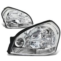 DNA Motoring HL-OH-056-CH-CL1 Chrome Housing Headlights Replacement For 05-09 Tucson