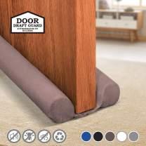 Holikme Twin Door Draft Stopper Weather Stripping Noise Blocker Window Breeze Blocker Adjustable Door Sweeps 34inch Coffee