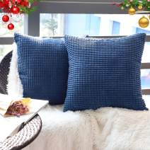 "Set of 2,Decorative Navy Blue Throw Pillow Covers 22"" x 22"" (No Insert),Solid Cozy Corduroy Corn Accent Square Pillow Case Sham,Soft Velvet Large Cushion Cover with Hidden Zipper for Couch/Sofa/Bed"