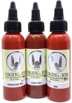 Tattoo Ink KIT 3 Reds 0.5oz (15ml) 3 Units Viking Ink USA, Best Color and Black Ink Original Vegan