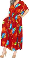 LA LEELA Women's Kaftan Shirt Dress Loungewear Swimwear Cover Ups Drawstring
