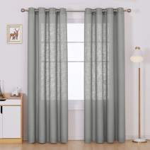 Deconovo Faux Linen Drapes Linen Look Panels Textured Solid Grommet Window Curtains for Living Room Grey 52x84 Inch 2 Panels