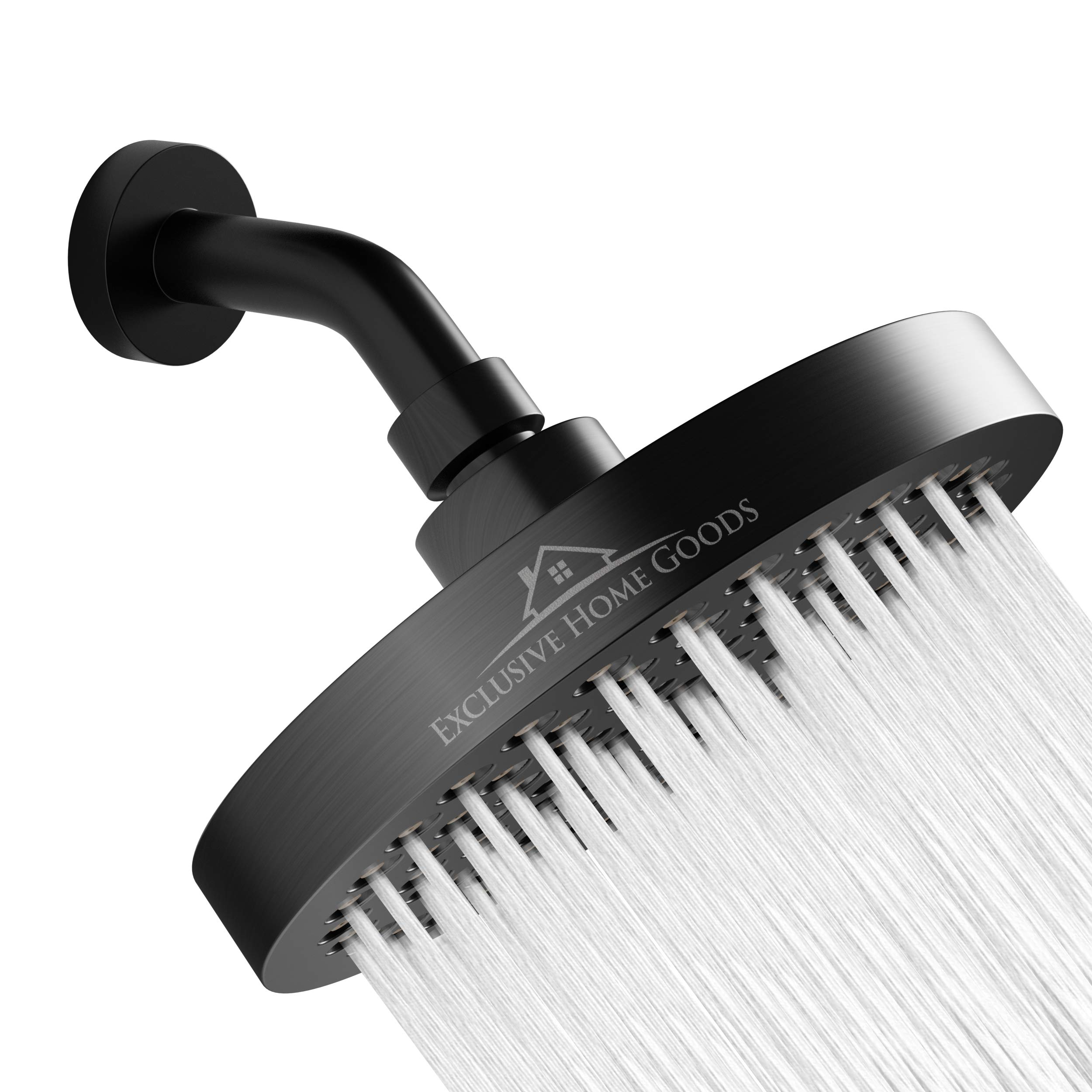 Luxury Rainfall Shower Head - High-Pressure showerhead Jets, rain shower head Ant-Clog Silicone Nozzles (1.8 GPM, Matte Black)