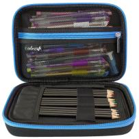 ColorIt Large Pencil Box Case Storage for Colored Pencils, Gel Pens, Markers, Brushes, Craft Supplies - [New Black Label] Semi-Hard EVA Carrying Pouch Case Only (Blue)