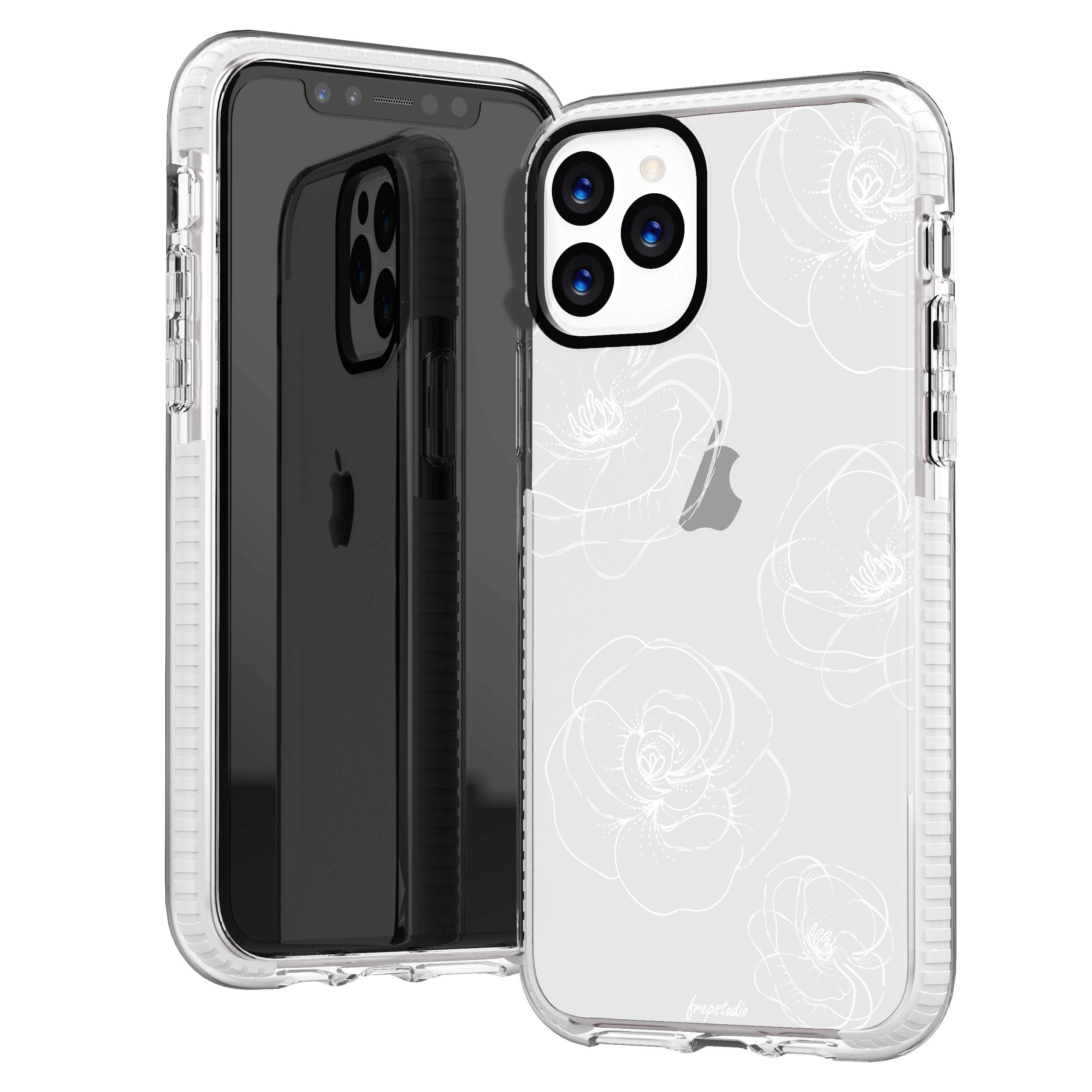 iPhone 11 Pro Max Case,Girls Women Cute Trendy Girly Line-Drawing Elegant Classical White Roses Floral Flowers Daisy Less is More Soft Protective Clear Design Case Compatible for iPhone 11 Pro Max