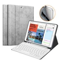 "Fintie Keyboard Case w/Pencil Holder for iPad Air 3rd Gen 10.5"" 2019 / iPad Pro 10.5"" 2017 - SlimShell Soft TPU Back Protective Cover w/Magnetically Detachable Wireless Bluetooth Keyboard, Silver Gray"