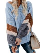 AKEWEI Women's Chunky Knit Sweater Striped Sleeve Pullover Tops Off The Shoulder Casual Outfit