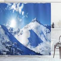 """Ambesonne Winter Shower Curtain, Mountain Peaks in Sunny Winter West Northern of States Tranquil Habitat Hike Image, Cloth Fabric Bathroom Decor Set with Hooks, 84"""" Long Extra, White Blue"""