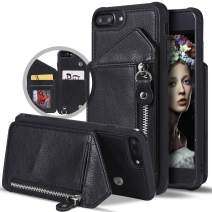 iPhone 8 Plus Wallet Case,iPhone 7 Plus Case with Card Holder,Vodico Slim Zipper Leather Wallet Back Flip Folio Shockproof Protective Silicone Phone Cases with Strap&Stand for Women/Men (Black)