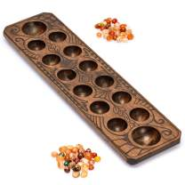 Yellow Mountain Imports Mancala Set with Wooden Board and Quartz Pebble Playing Pieces, Natural Wood