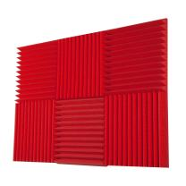 """Foamily 6 Pack - All Red Acoustic Panels Studio Foam Wedges 2"""" X 12"""" X 12"""""""