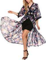 Zeagoo Women's Summer 3/4 Sleeve Floral Kimono Cardigan Flowy Open Front Beach Cover Ups