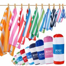 BOGI Microfiber Sports Travel Beach Towel-L 63''x31.5''XL 79''x35.5'' with Hand/Face Towel for Travel Bath Beach Swim Camping Gym Yoga,Dry Fast Absorbent Soft Lightweight-Pouch+Carabiner
