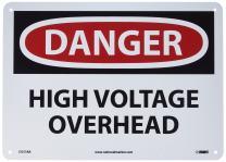 "NMC D553AB OSHA Sign, Legend ""DANGER - HIGH VOLTAGE OVERHEAD"", 14"" Length x 10"" Height, 0.040 Aluminum, Black/Red on White"