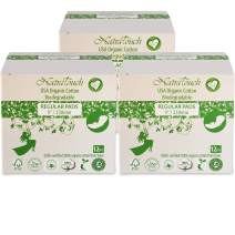 NATRATOUCH ~ COMPOSTABLE ~ Certified Organic Cotton Regular Pads (3 Pack Total 36 Pads)