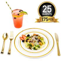 Gold Plastic Dinner Plates Disposable Dinnerware Set for 25 Guests | 12 oz Rimmed Cups & Straws | Cocktail Recipe eBook | 175 Pieces [25 Forks, Knives, Spoons, Cups, Salad & Dinner Plates]
