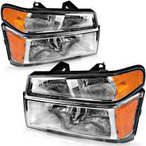 Compatible with 2004-2012 Chevy Colorado/GMC Canyon Headlights, OEDRO Replacement for 06-08 Isuzu i-series 4-Dr & 2-Dr Chrome Housing + Bumper Lights Amber Side Clear Lens Headlamps, 2-Yr Warranty