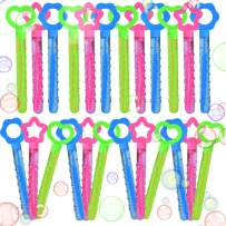 FUN LITTLE TOYS 24 Pack 10 Inch Bubble Wands for Kids, Bubble Party Favors Assortment, Bubble Bulk for Summer Outdoor Activities