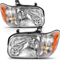 AUTOSAVER88 Headlight Assembly Compatible with 2005-2006 Toyota Tundra Double/Crew Cab, 2005-2007 Sequoia, Chrome Housing Clear Lens (Not suitable for Regular Cab and Assess Cab)