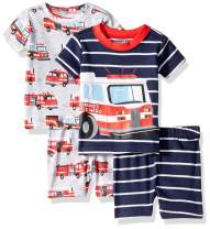 The Children's Place Baby Boys Four Piece Graphic Sleeve Top and Shorts Pajama Set