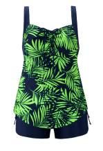 URqvick Women's Two Piece Floral Bathing Suits Plus Size Tankini Top Set Swimsuits