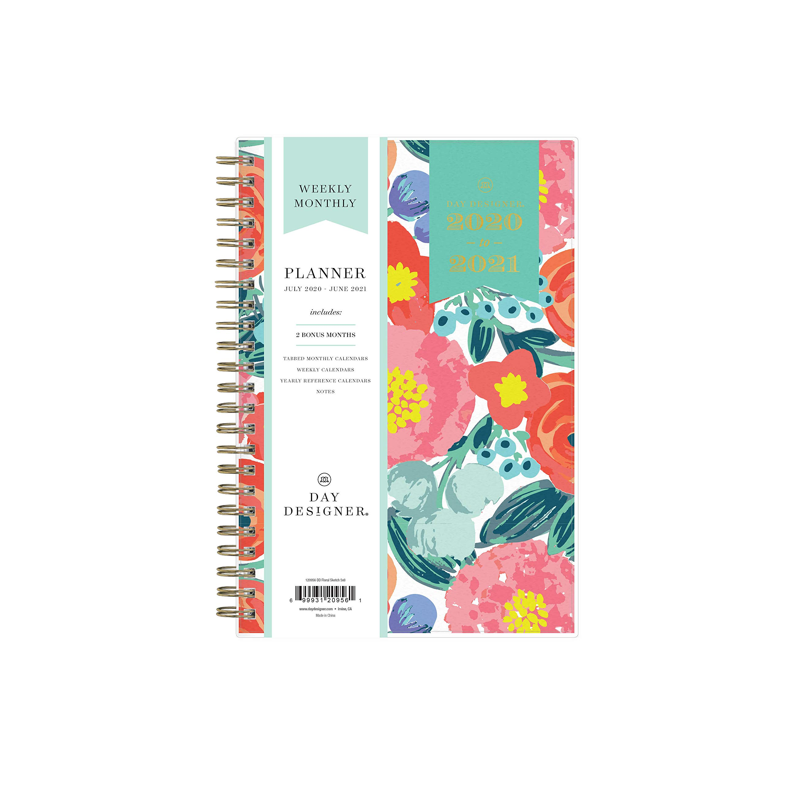 """Day Designer for Blue Sky 2020-2021 Academic Year Weekly & Monthly Planner, Flexible Cover, Twin-Wire Binding, 5"""" x 8"""", Floral Sketch"""