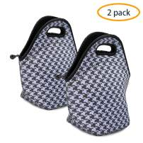 ANLOMI Insulated Neoprene Lunch Bag - Reusable Thermal Lunch Bag with Zipper Water Resistant Soft Lunch Tote Food Holder for School Office Outdoor, Boy Girl Men Women Kids Handbags (Houndstooth x2)