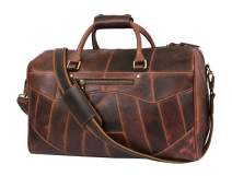Leather Travel Duffle Bag | Gym Sports Bag Airplane Luggage Carry-On Bag | Gift for Father's Day By Aaron Leather (Hickory)
