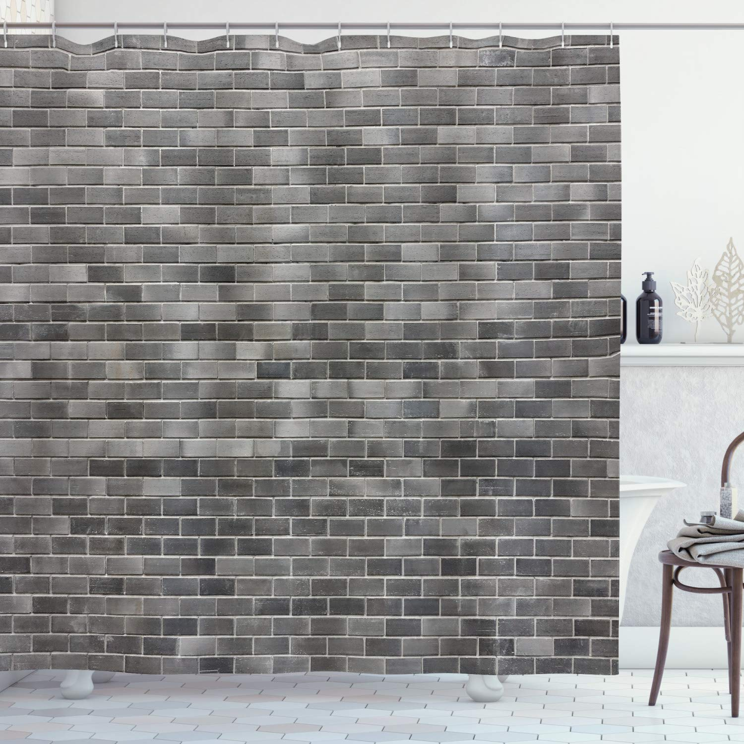 """Ambesonne Grey and White Shower Curtain, Modern Brick Wall Tiles Urban Construction Architecture Building Town Art Picture, Cloth Fabric Bathroom Decor Set with Hooks, 70"""" Long, Grey"""