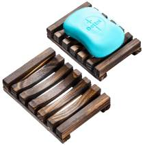 iPEGTOP Wood Soap Dish Natural Wooden Sink Bar Soap Holder Soap Saver Hand Craft for Kitchen Bathroom Shower and Counter, 2 Pack