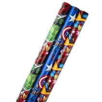Hallmark Avengers Wrapping Paper Bundle with Cut Lines on Reverse, Black Widow, Captain America, Iron Man, Thor (Pack of 3, 105 sq. ft. ttl.) for Birthdays, Holidays, Fathers Day and More