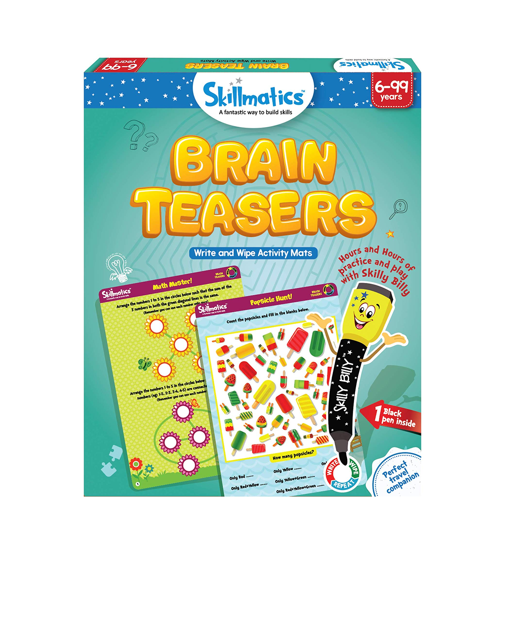 Skillmatics Educational Game: Brain Teasers (6-99 Years) | Erasable and Reusable Activity Mats | Gifts for Boys and Girls 6, 7, 8, 9, Years and Up | Travel Friendly Toy with Dry Erase Marker