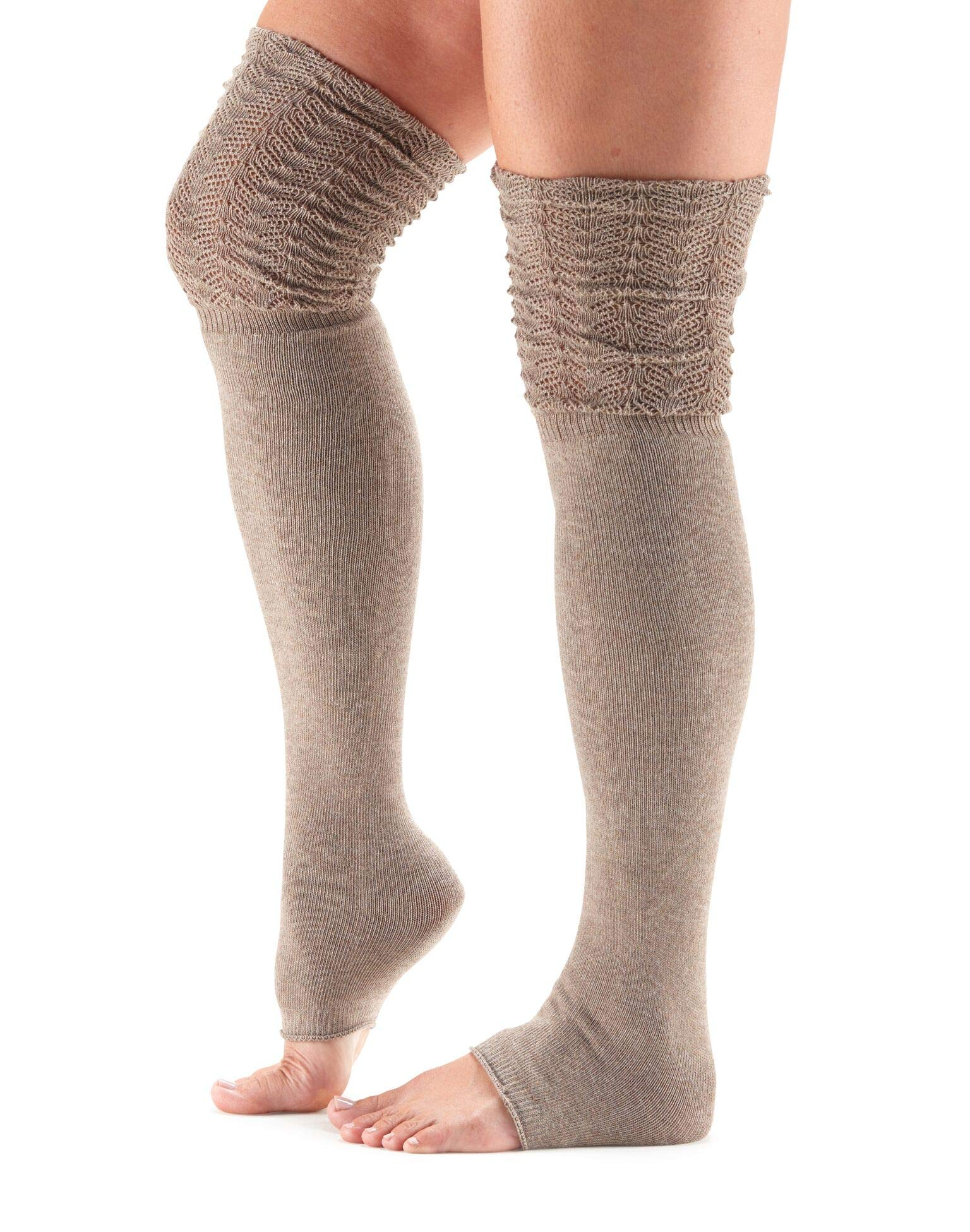 toesox Women's Thigh High Sasha Slouch Leg Warmer w/Fan Welt and Pointelle Detailing for Dance and Fashion