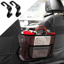 Cerbonny Car Net Pocket Handbag Holder between Seats with 2 Hooks, Auto Net Purse Holder for Car, Large Capacity Car Seat Netting Storage for Phone Documents (New Upgrade, Black)