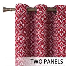 BGment Printed Blackout Curtains for Bedroom 2 Panels - Grommet Thermal Insulated Room Darkening Moroccan Curtain for Living Room (38 x 45 Inch, Red)